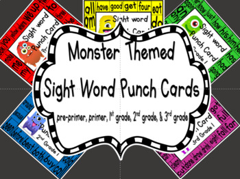Sight Word Punch Cards - Monsters