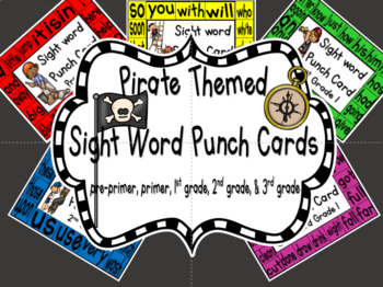 Sight Word Punch Cards - Pirates