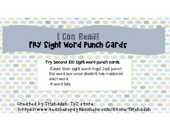 Sight Word Punch Cards Second 100