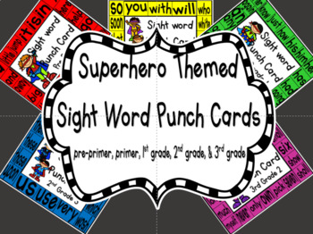 Sight Word Punch Cards - Superheros