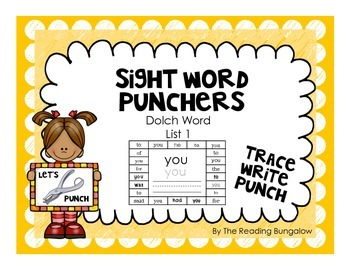 Sight Word Punchers - Dolch Word List 1