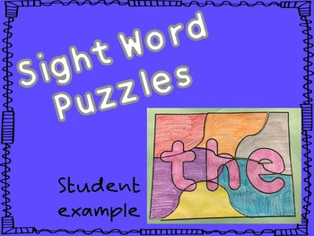 Sight Word Puzzle Pages