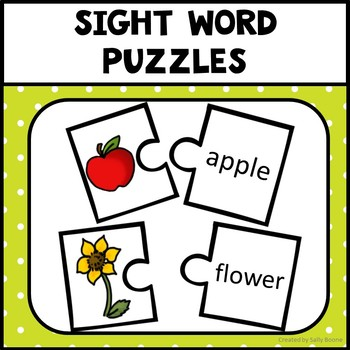 Sight Word Puzzles - 40 Words with Pictures