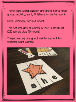 Sight Word Puzzles  {Complete Dolch List}