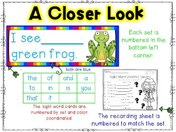 Sight Word Puzzles:  Hands-On Sentence Building for Comprehension
