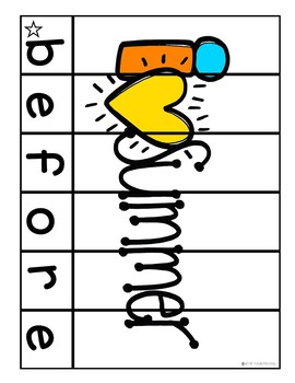 July Sight Word Puzzles