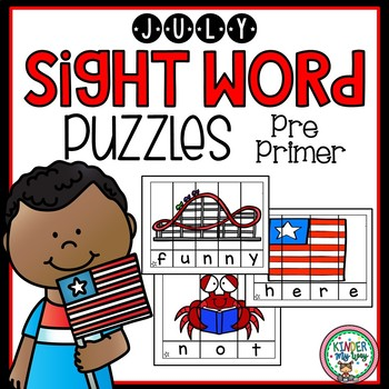 Sight Word Puzzles July Pre Primer