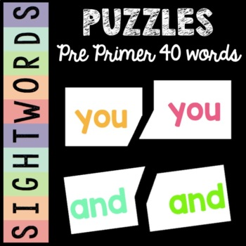 Sight Word Puzzles {Pre-Primer List}