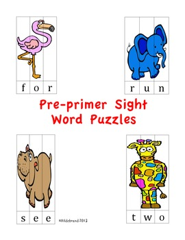 Sight Word Puzzles: Pre-primer Dolch Sight Words
