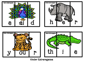 Sight Word Puzzles Zoo Theme
