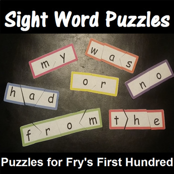 Sight Word Puzzles based on Fry 1-100