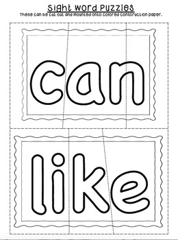 Sight Word Puzzles by Kinder League