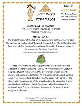 Fluency / Sight Word Pyramids!  Dolch 2nd Grade