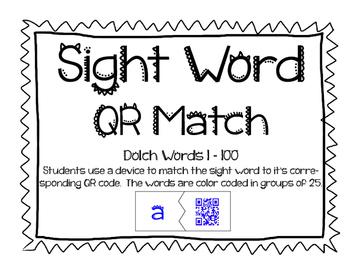 Sight Word QR Code Match 1-100