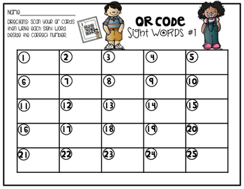 Sight Word QR Codes: 1st 100 FRY Words
