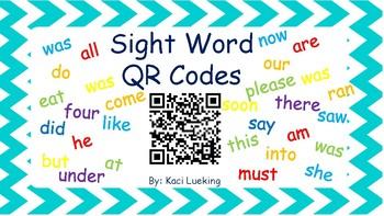 Sight Word QR Codes: Dolch Kindergarten