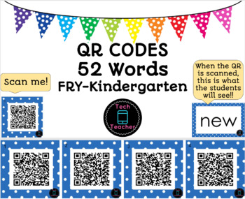 Sight Word QR Codes Kindergarten