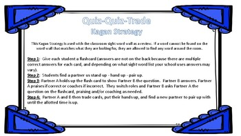 Sight Word Quiz Quiz Trade Task Cards, great for use with Kagan Stuctures