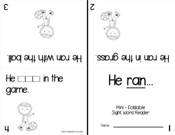 Sight Word: RAN- Interactive Flap Book, Reader, and More!