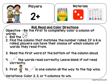 Roll Read and Color Sight Words