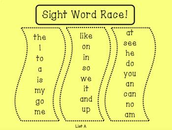 Sight Word Race Bundle! (Teacher's College A-H, Fry Phrases)