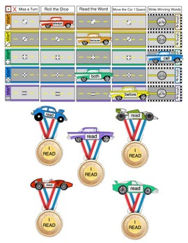 Sight Word Race Car Game: on track to reading.