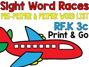 Sight Word Race PrePrimer-primer Lists