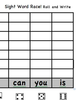 Sight Word Race-Roll and Write