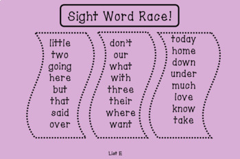 Sight Word Races (Teacher's College Lists E-H)