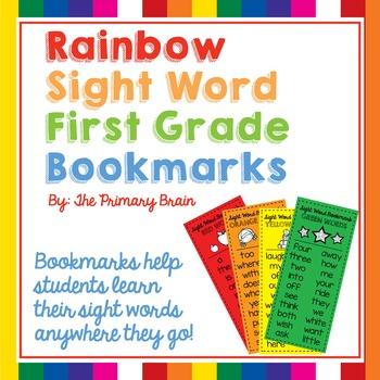 Sight Word Rainbow Bookmarks