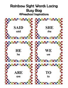 Sight Word Rainbow Cards