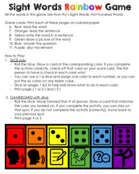 Sight Word Rainbow Game