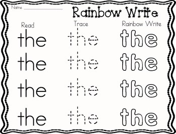 Sight Word- Rainbow Writing