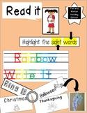 Sight Word Rainbow Writing Center Halloween Thanksgiving Christmas