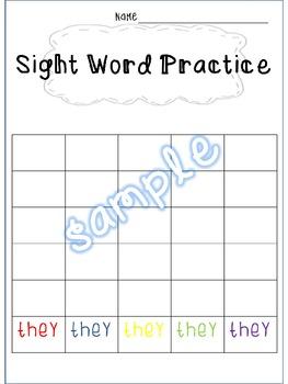 Sight Word Rainbow Writing1