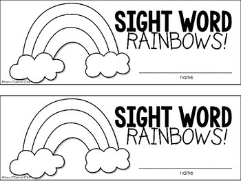 FREE!! Sight Word Rainbows for PreK and Kindergarten
