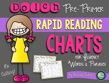 Sight Word Rapid Reading Charts for Fluency: Pre-Primer Words and Phrases