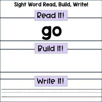 Reading Centers: Sight Word-  Read, Build, Write (Pre-Primer)