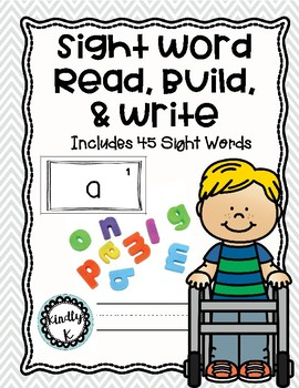Sight Word Read It Build It Write It + 45 sight words, colors, and numbers 1-20