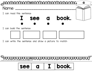 Sight Word 'Read It, Build It, Write It' Printables