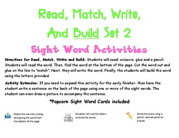 Sight Word: Read, Match, Build, Write