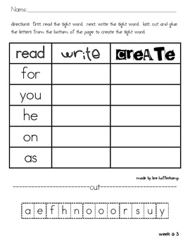 Sight Word Read, Write, Create