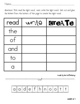 Sight Word Read, Write, Create