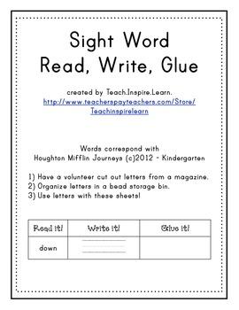 Sight Word Read, Write, Glue
