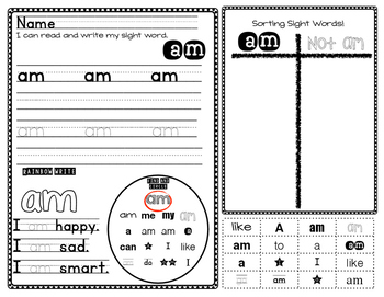 Sight Word Read, Write and Sort
