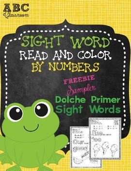 Sight Word Read and Color FREEBIE SAMPLER Dolche Primer Sight Words