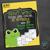 Sight Word Read and Color with 20 Dolche Primer Sight Words