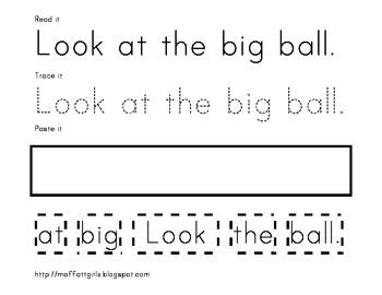 Sight Word Read it, Trace it, Paste it!