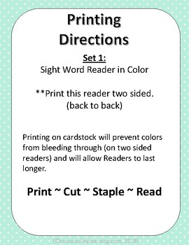 Sight Word Reader 1 sample (2 sided printing in semi-color)