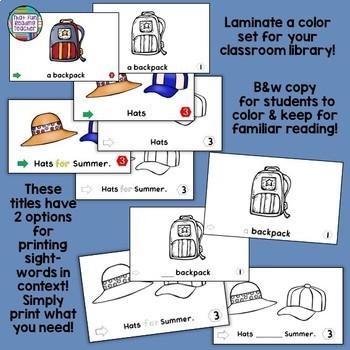 Sight Word Readers, Activities: Summer, School!